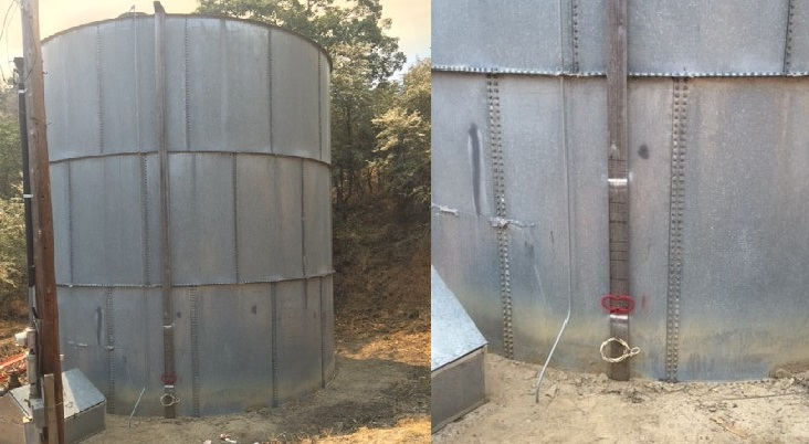 Photo of the California Pines water tank showing where the operating range and current water level