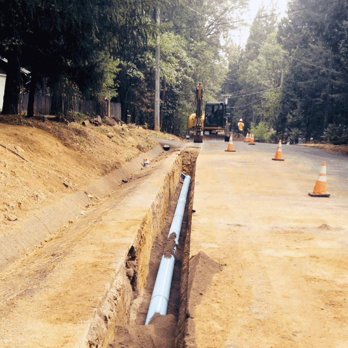 Photo showing new mainline installed on Shaw Circle September 2015