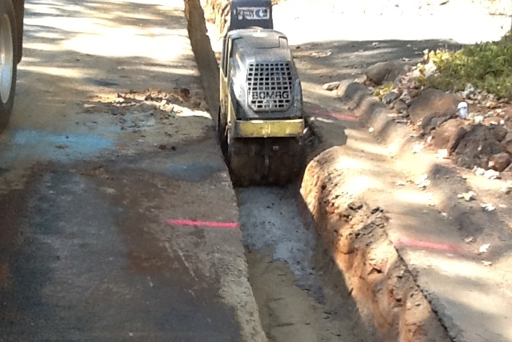Photo showing trenching machine in trench an Andover Drive September 2018